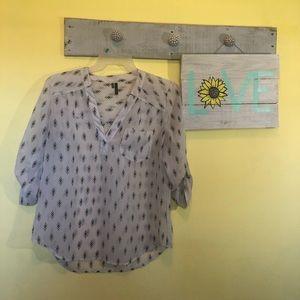 Dress shirt with black diamond pattern
